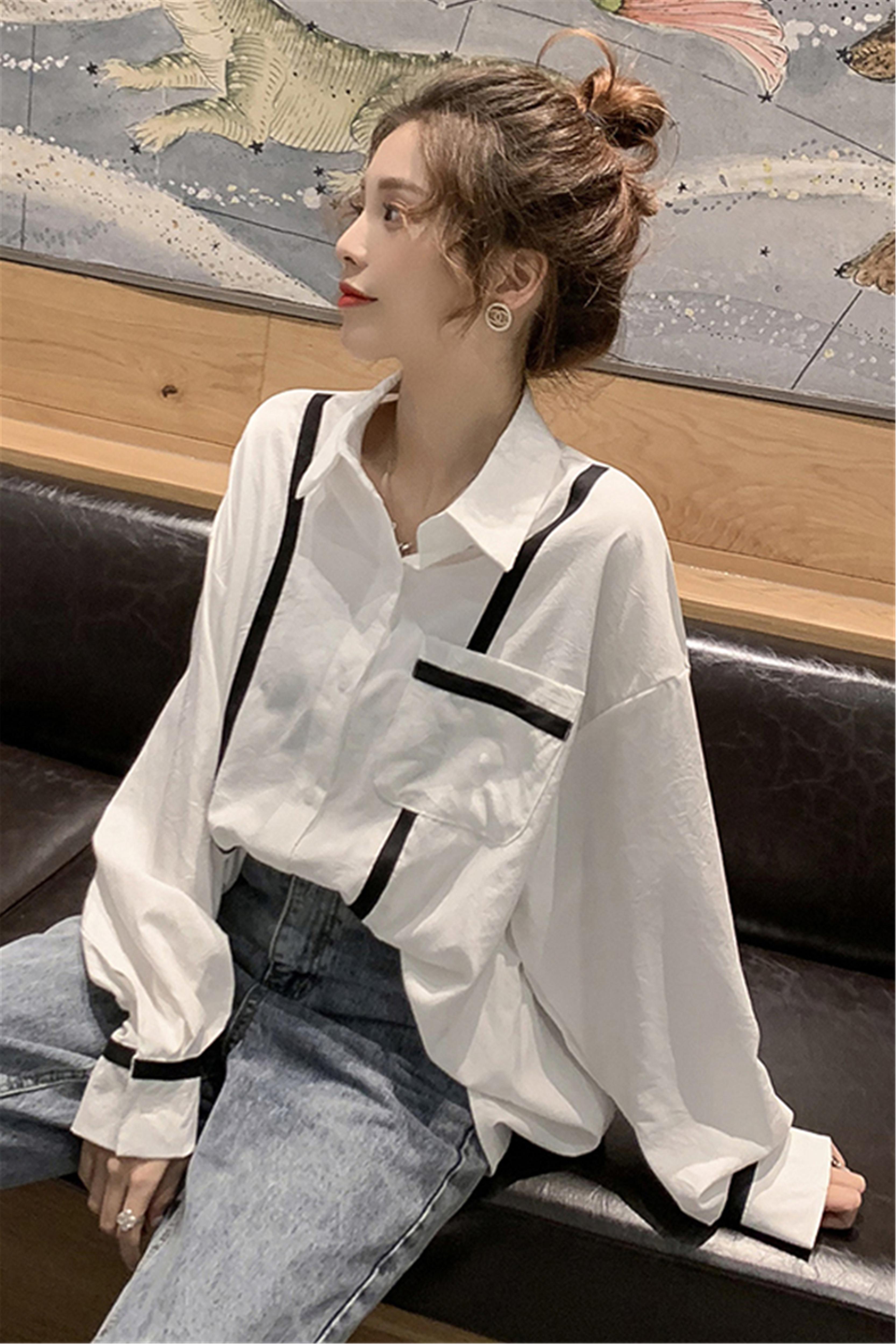 2020春装新款韩版洋气很仙雪纺衫女百搭中长款宽松衬衫上衣