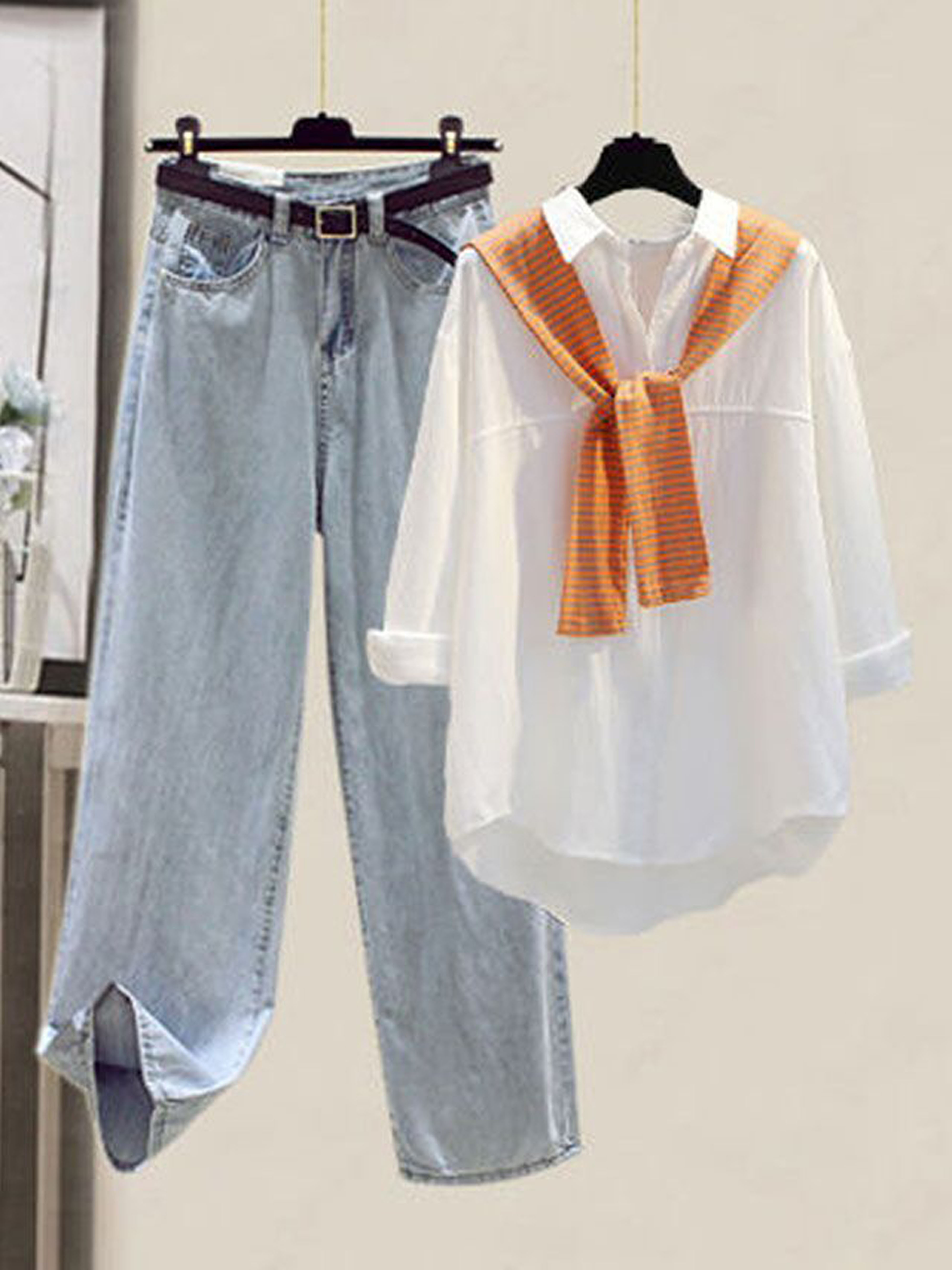 早秋新款宽松假两件糖果色衬衫+高腰显瘦直筒牛仔裤时尚两件套装