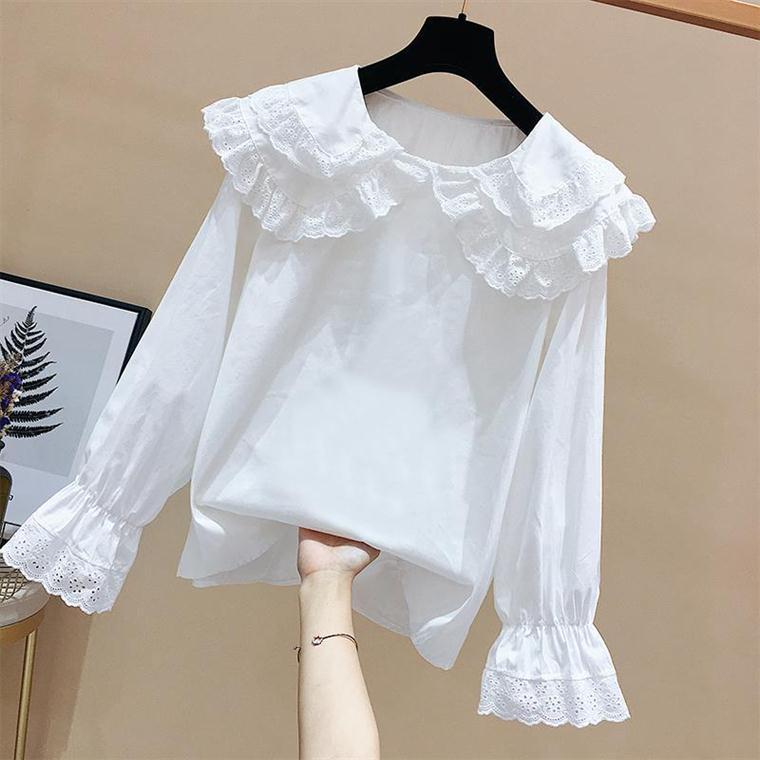 春装女套装新款蕾丝娃娃领打底白衬衫女显瘦高腰小脚九分牛仔裤女