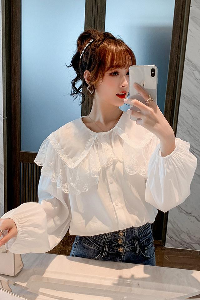 蕾丝娃娃领衬衫女2020春季新款小众百搭衬衣甜美气质雪纺上衣