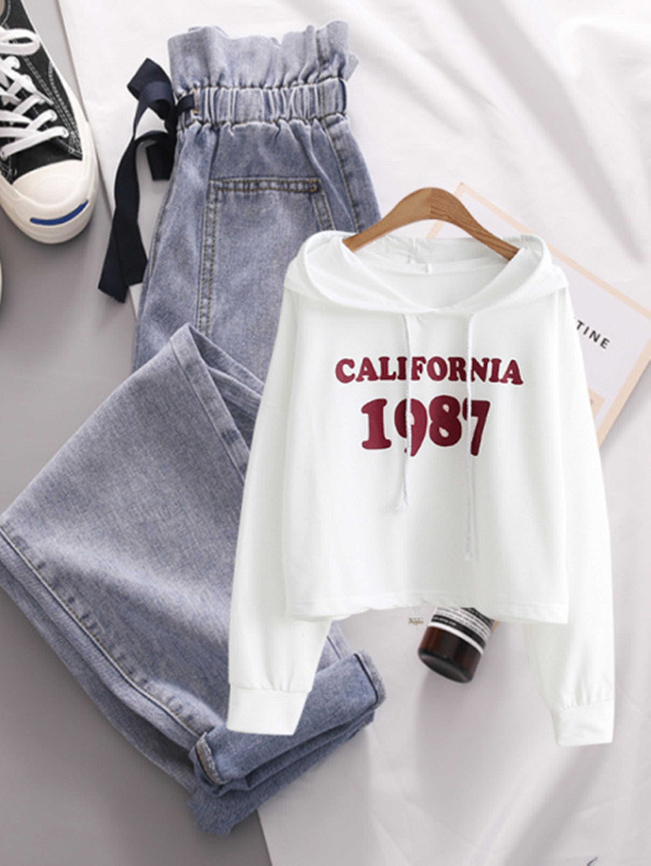 小个子套装春季显瘦韩版短款气质字母印花卫衣+高腰蝴蝶结牛仔裤