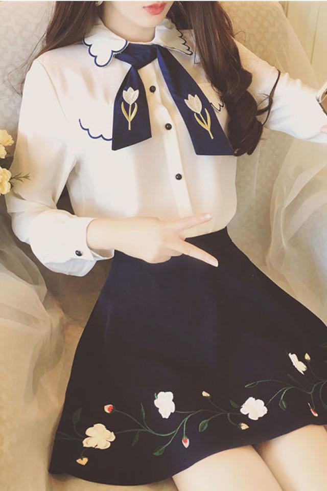 2020春装新款甜美娃娃领刺绣上衣细带蝴蝶结百搭显瘦雪纺衬衫