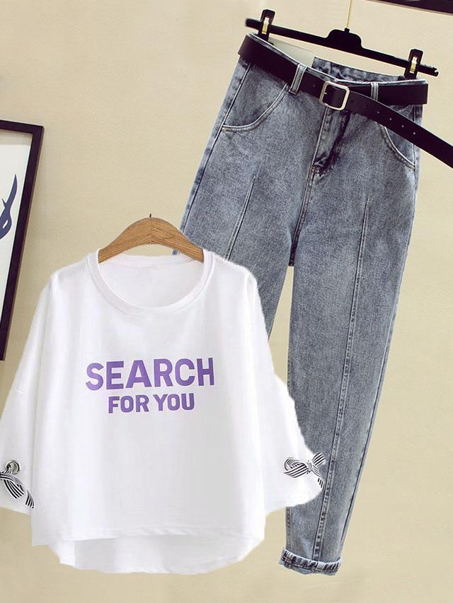 春季新款小清新系带七分袖T恤+高腰九分牛仔裤配送腰带时尚套装