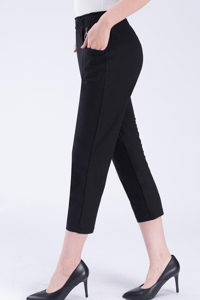 中年女士休闲裤外穿妈妈大码亚麻夏季高腰弹力中老年宽松薄款女裤