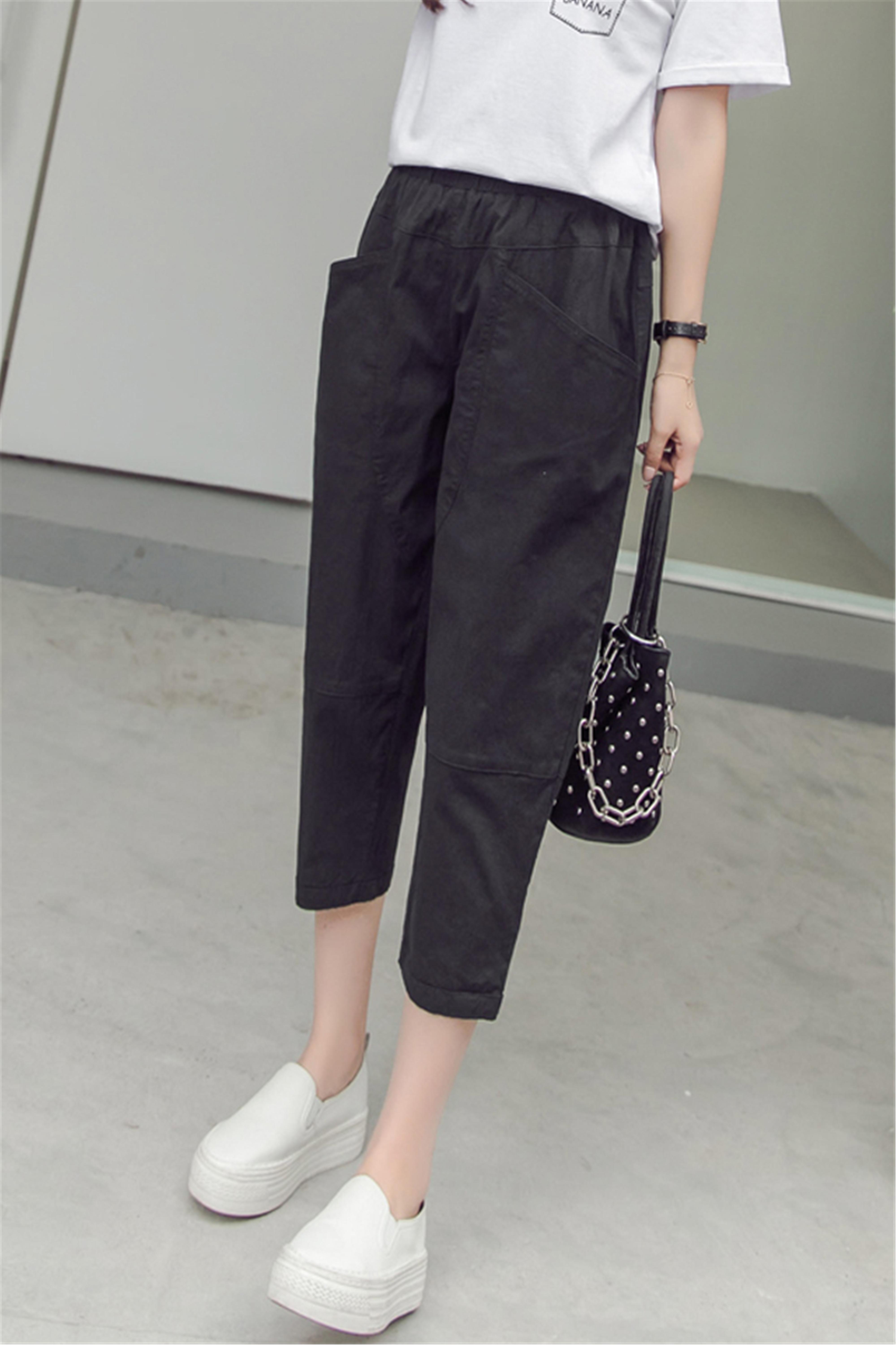 夏季新款时尚学生百搭宽松薄款哈伦休闲裤女韩版学生bf高腰裤子