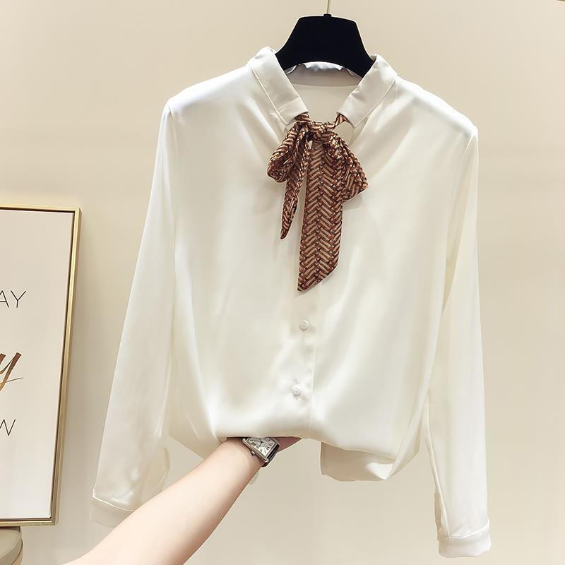 小清新系带纯色雪纺衫+港味九分牛仔裤时尚套装春季新款配送腰带