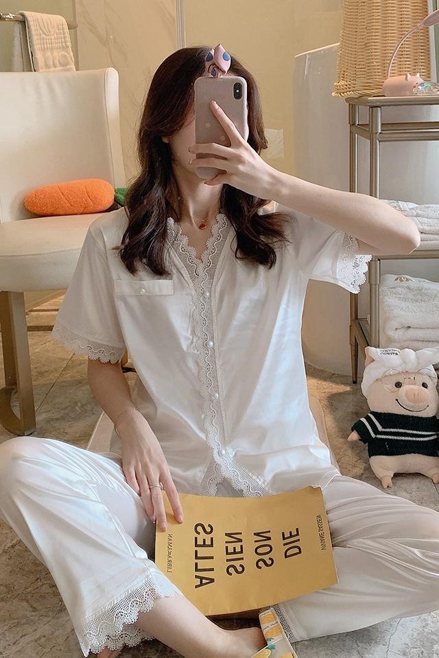 睡衣女夏季韩版薄款短袖冰丝仿真丝宽松可爱家居服两件套装粉色
