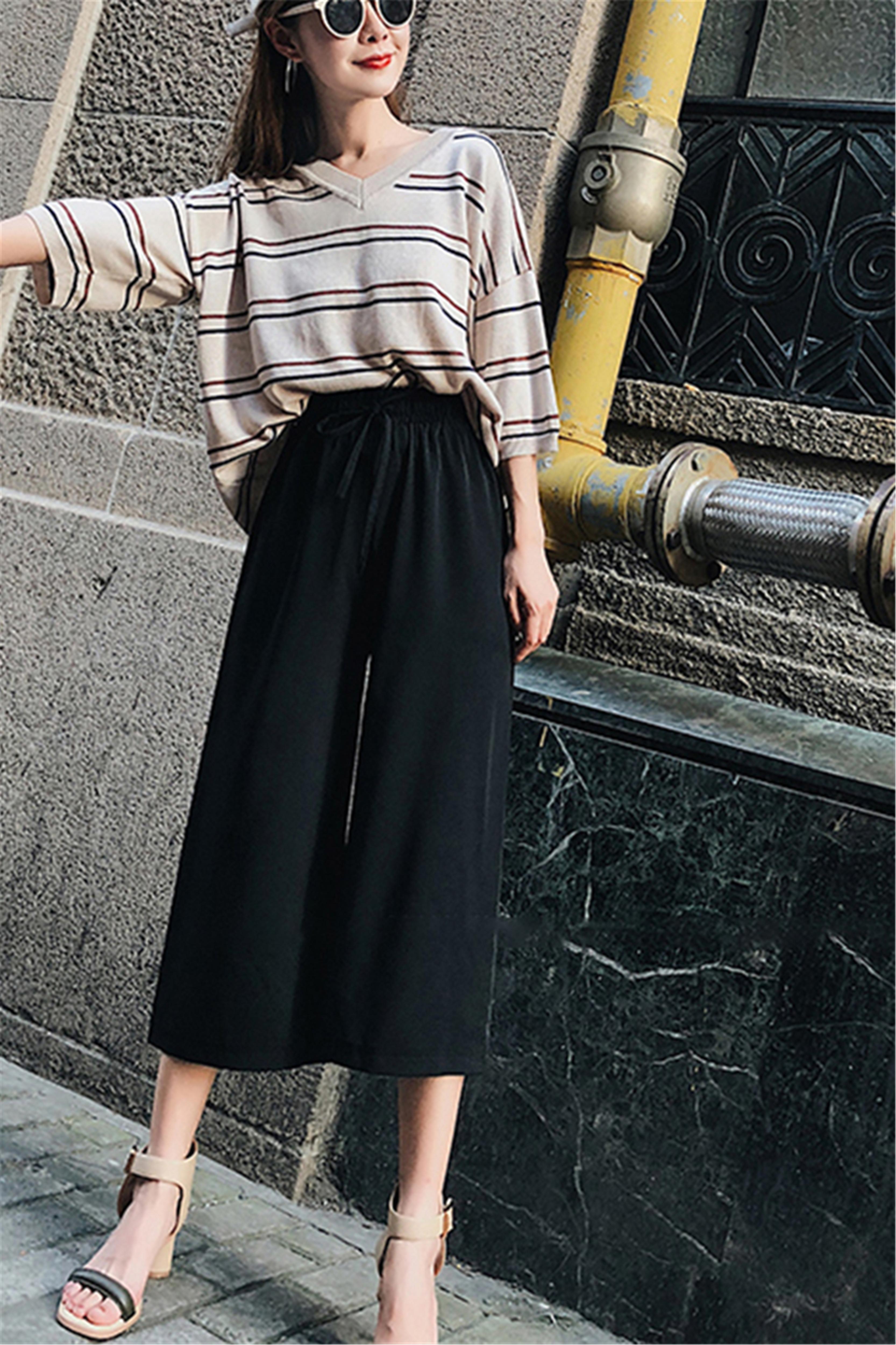 阔腿裤女夏雪纺高腰垂感2020新款坠感显瘦薄款宽松七分直筒裤