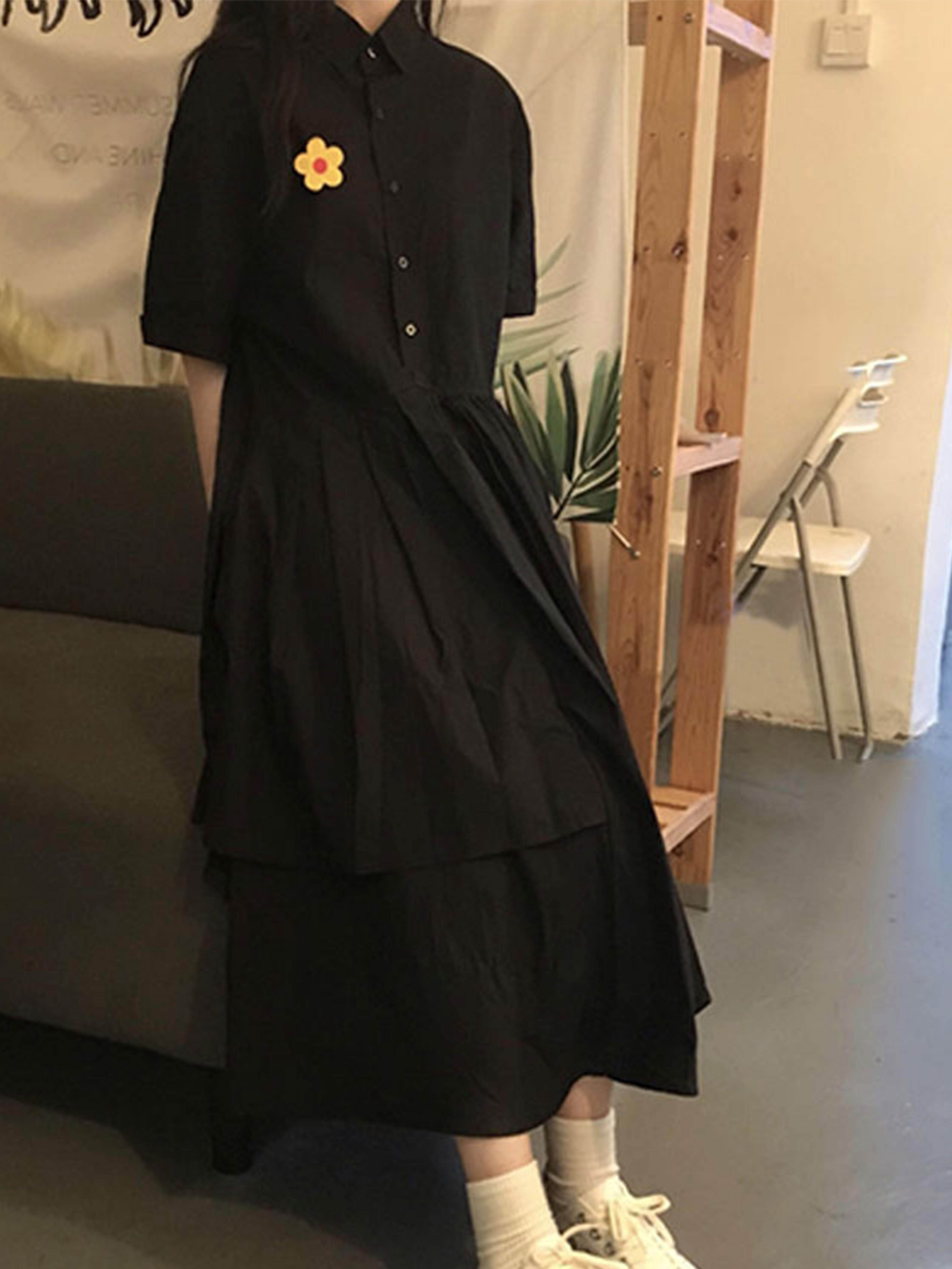新款闺蜜连衣裙夏宽松过膝初恋仙气桔梗裙子超仙女森系学生长裙
