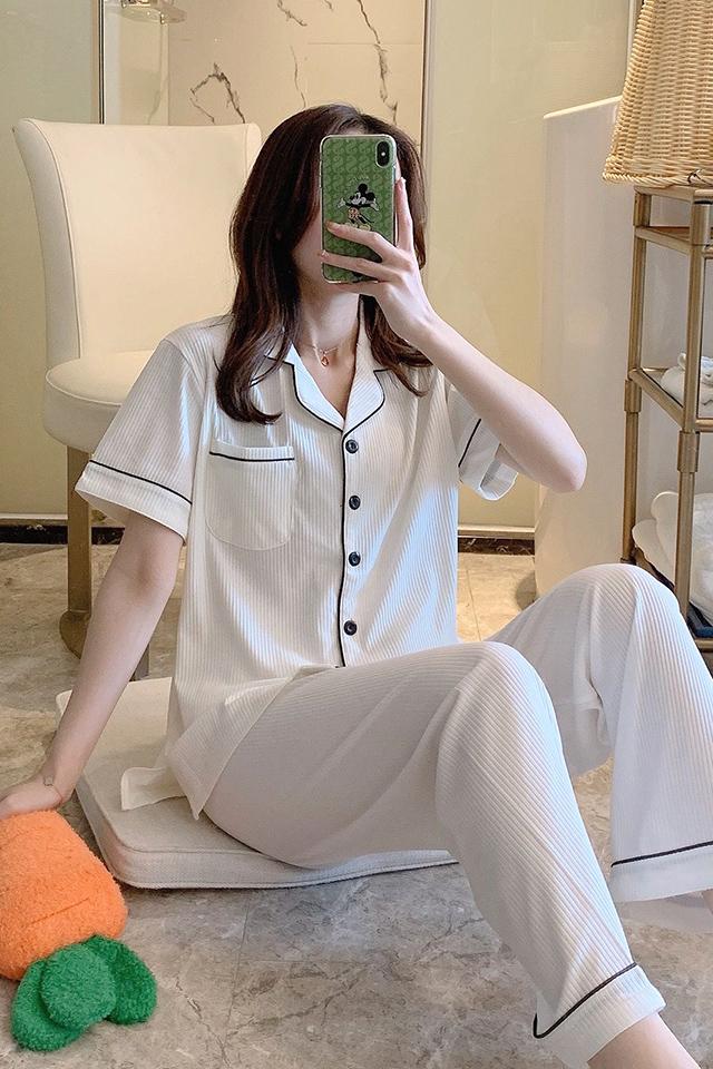 短袖长裤睡衣女夏季纯棉可出门休闲春秋薄款两件套夏天家居服套装