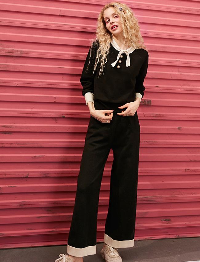妖精的口袋针织衫套装2021春季新款女阔腿裤洋气时尚上衣22