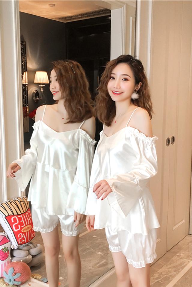性感睡衣女两件套吊带仿真丝甜美少女漏肩睡衣家居服套装可外穿