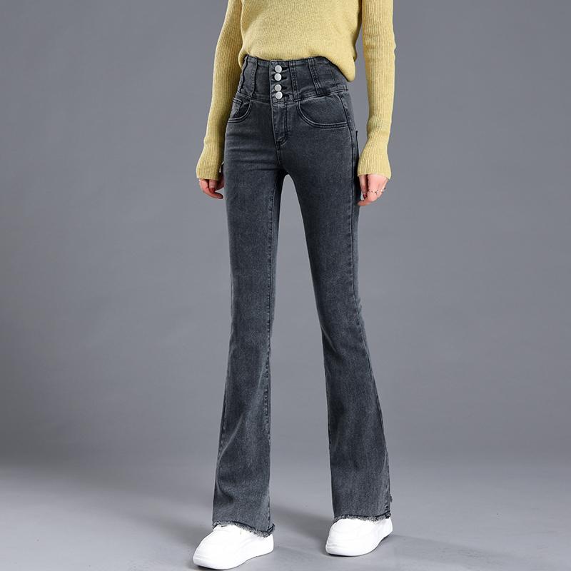 超高腰拖地喇叭牛仔裤女春新款紧身复古收腹弹力微喇加长裤大码