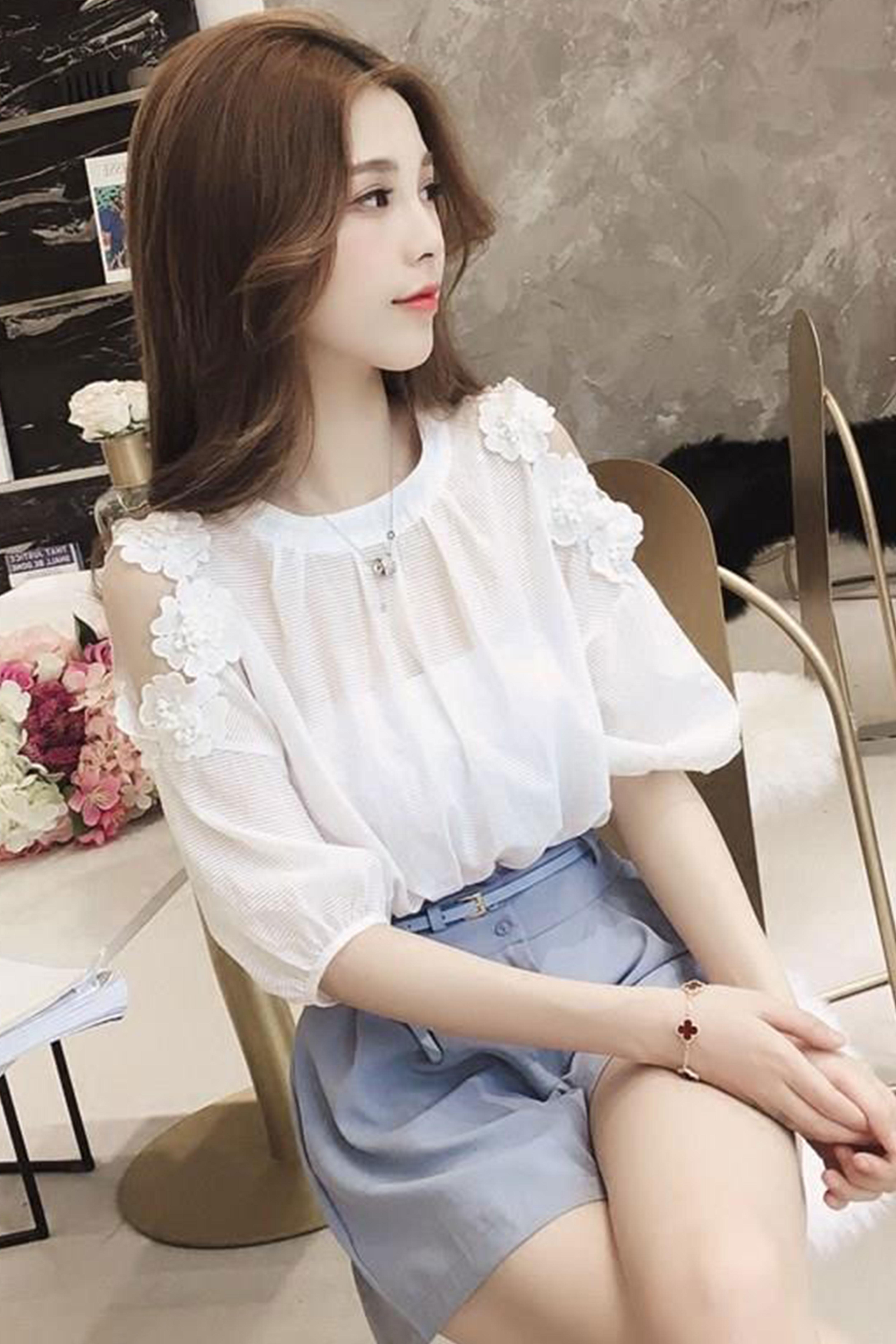 衬衣仙女范雪纺白色衬衫韩版小个子设计感小众很仙的心机上衣洋气