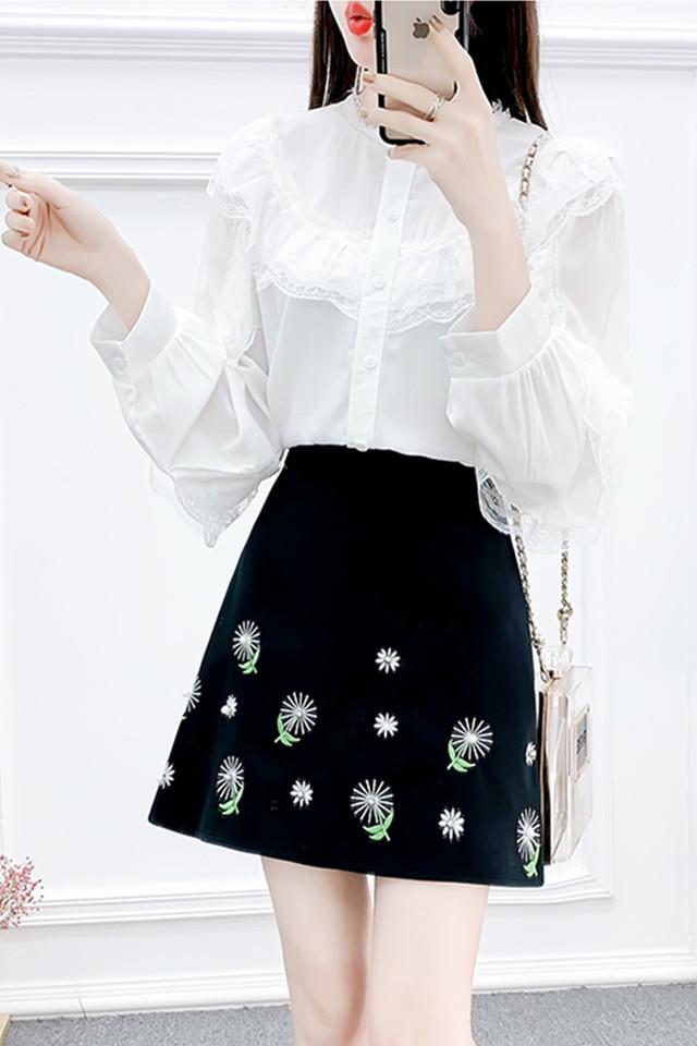 小香风套装裙法式小众雪纺衬衫木耳边上衣高腰A字刺绣半裙两件套