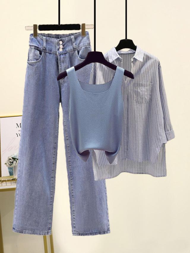 夏季新款时尚套装韩版条纹衬衫针织背心高腰阔腿牛仔裤三件套女装