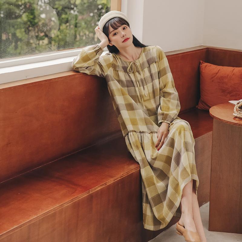 格子宽松连衣裙2020年秋季新款女装韩版显瘦长袖学生中长裙子