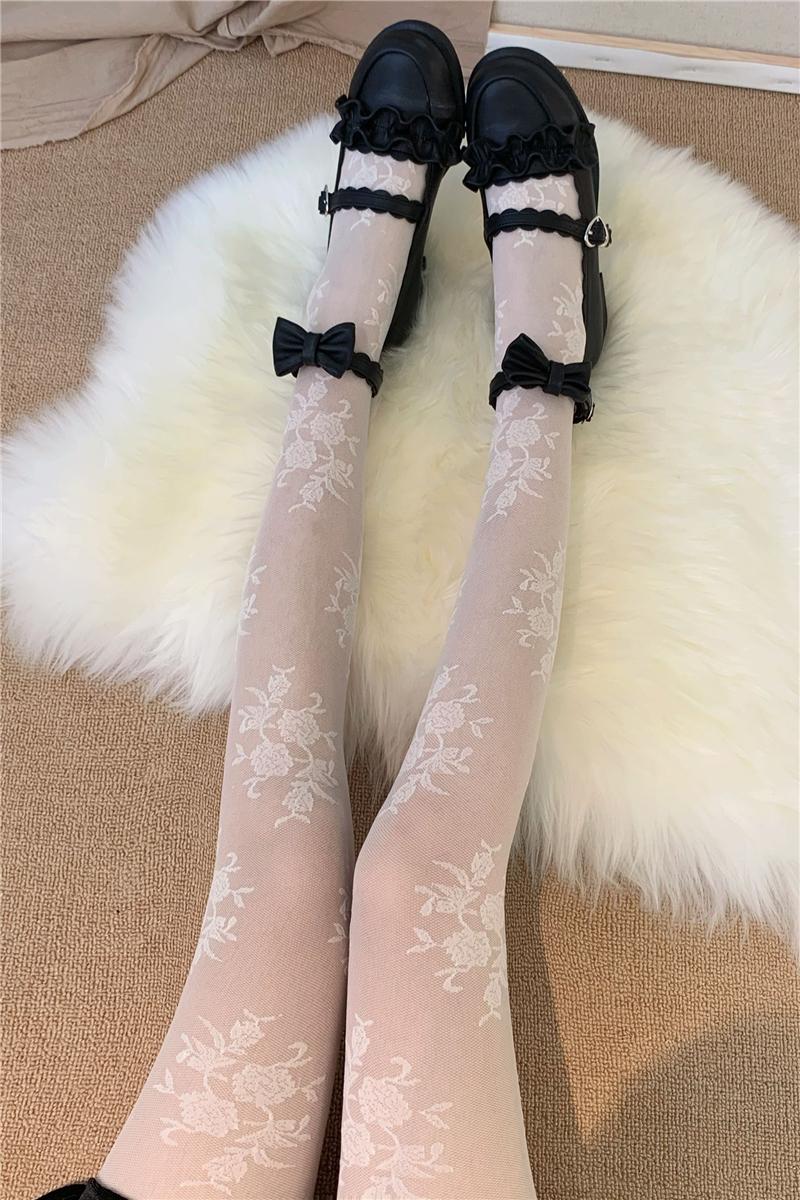 复古蕾丝连裤袜女薄款黑白色丝袜性感镂空网袜日系洛丽塔打底袜子