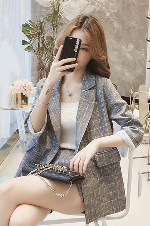春季新款韩版小个子休闲格子小西装外套显瘦短裤时尚套装两件套女