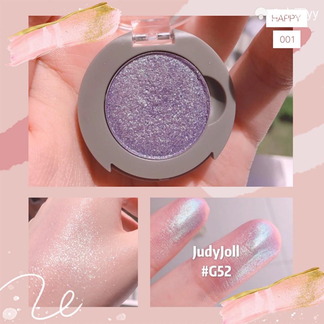 Judydoll眼影G52号色 刚买来的时候,一路上都忐忑,怕这珠光色不好看,但是到货试色的时候真的是惊到了我。 这blingbling的珠光色,简直绝了,不要太太太好看。但是不要一次搞太多哦❤ #blingbling彩妆惹人爱#