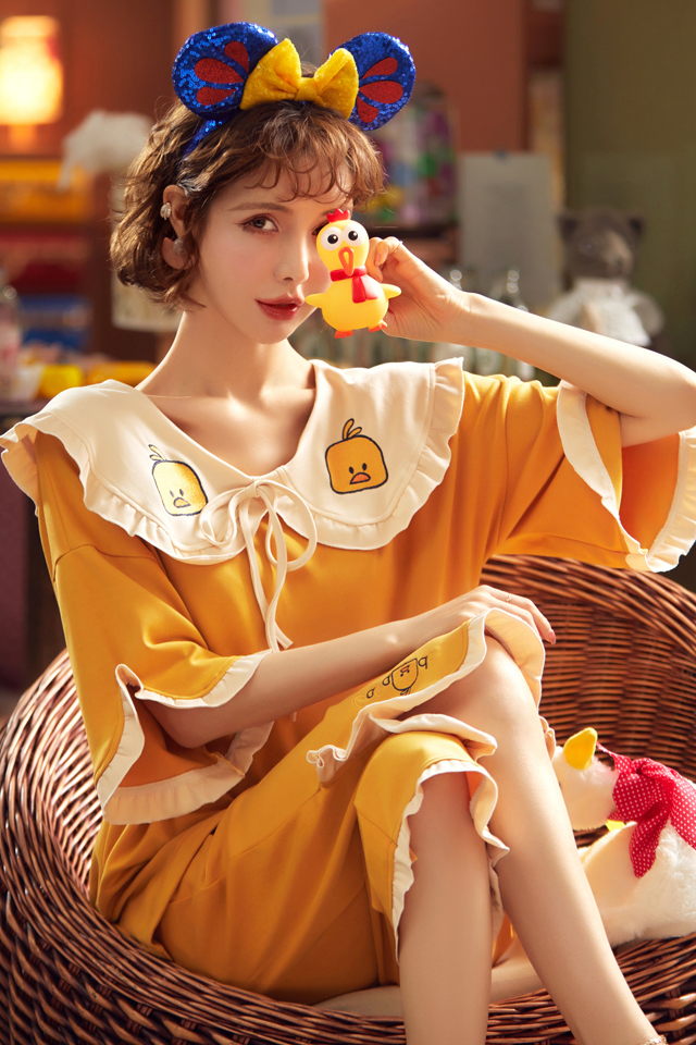 夏天纯棉睡衣女士夏季薄款短袖花边娃娃领公主风少女家居服套装夏