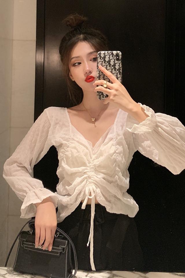 春季新款韩版网红V领雪纺衬衫显瘦阔腿休闲裤时尚套装两件套女装