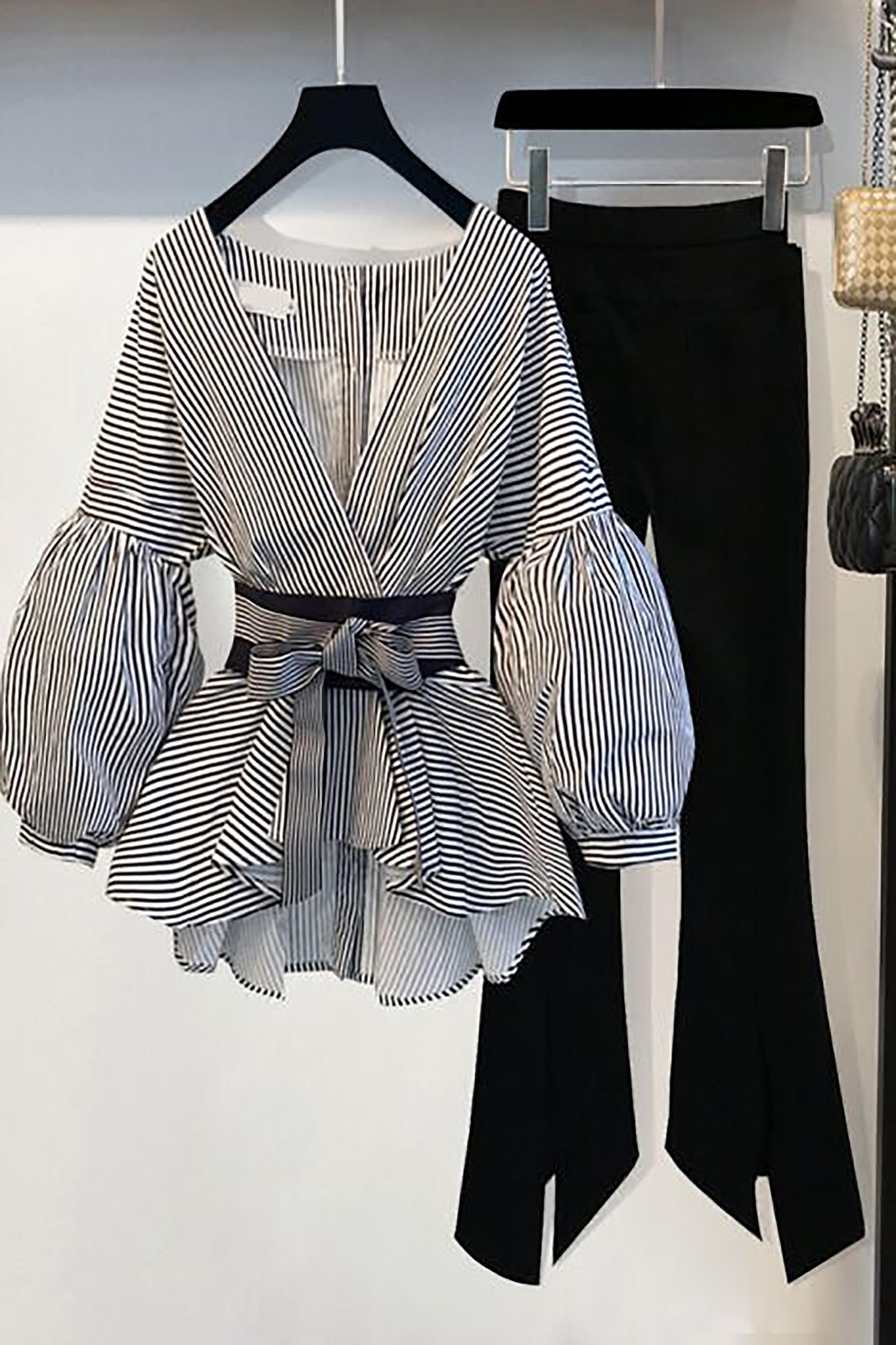 春夏新款小个子七分袖收腰雪纺衬衫+显瘦喇叭休闲裤时尚两件套装