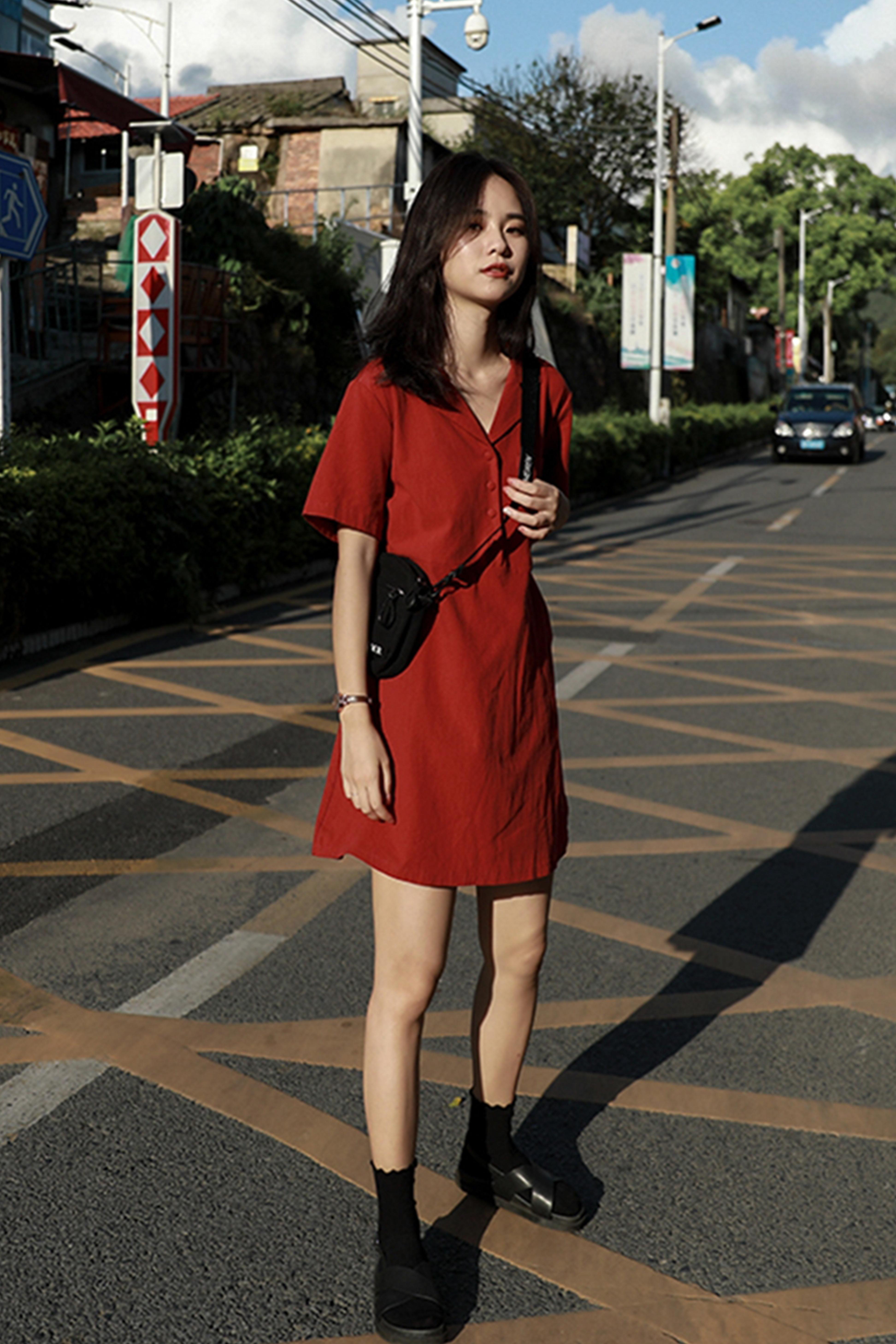 夏季新款港味系带收腰西装领短裙小清新学生气质短袖桔梗连衣裙女