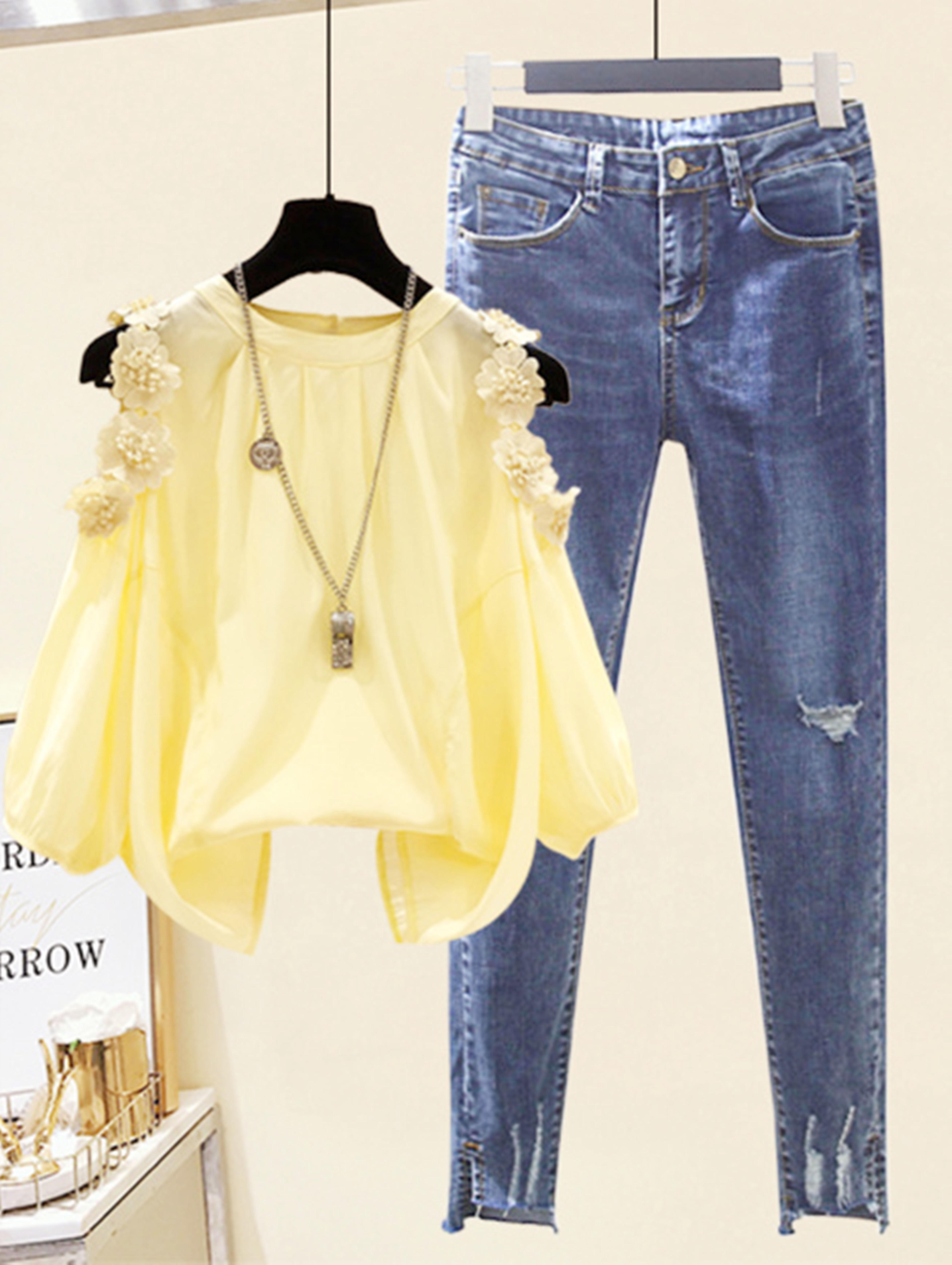 小个子套装春夏季显瘦松遮肚子很仙的雪纺衫+紧身高腰小脚牛仔裤