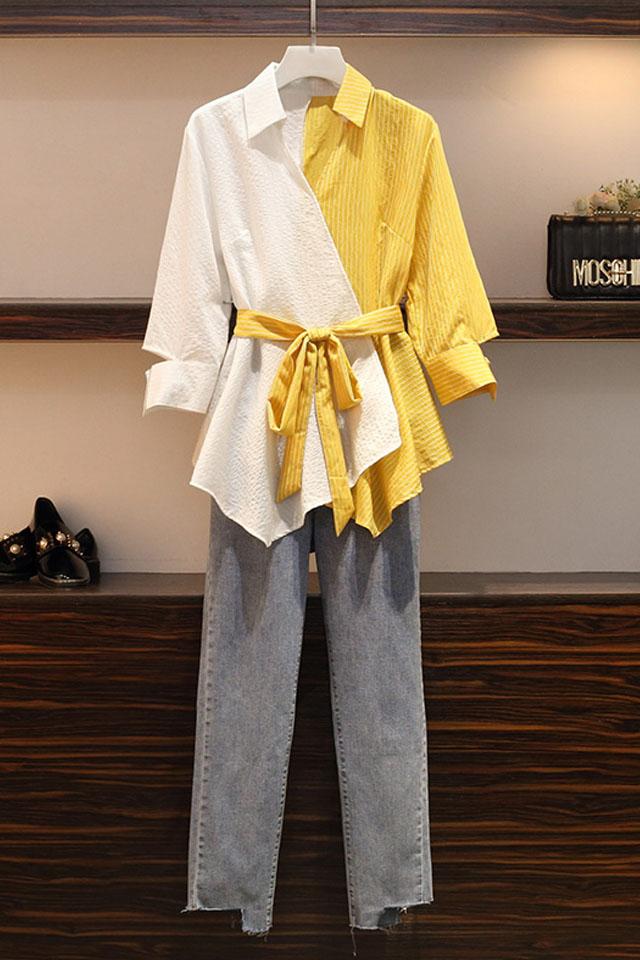 大码女装胖mm显瘦套装洋气减龄遮肚遮肉牛仔裤两件套秋