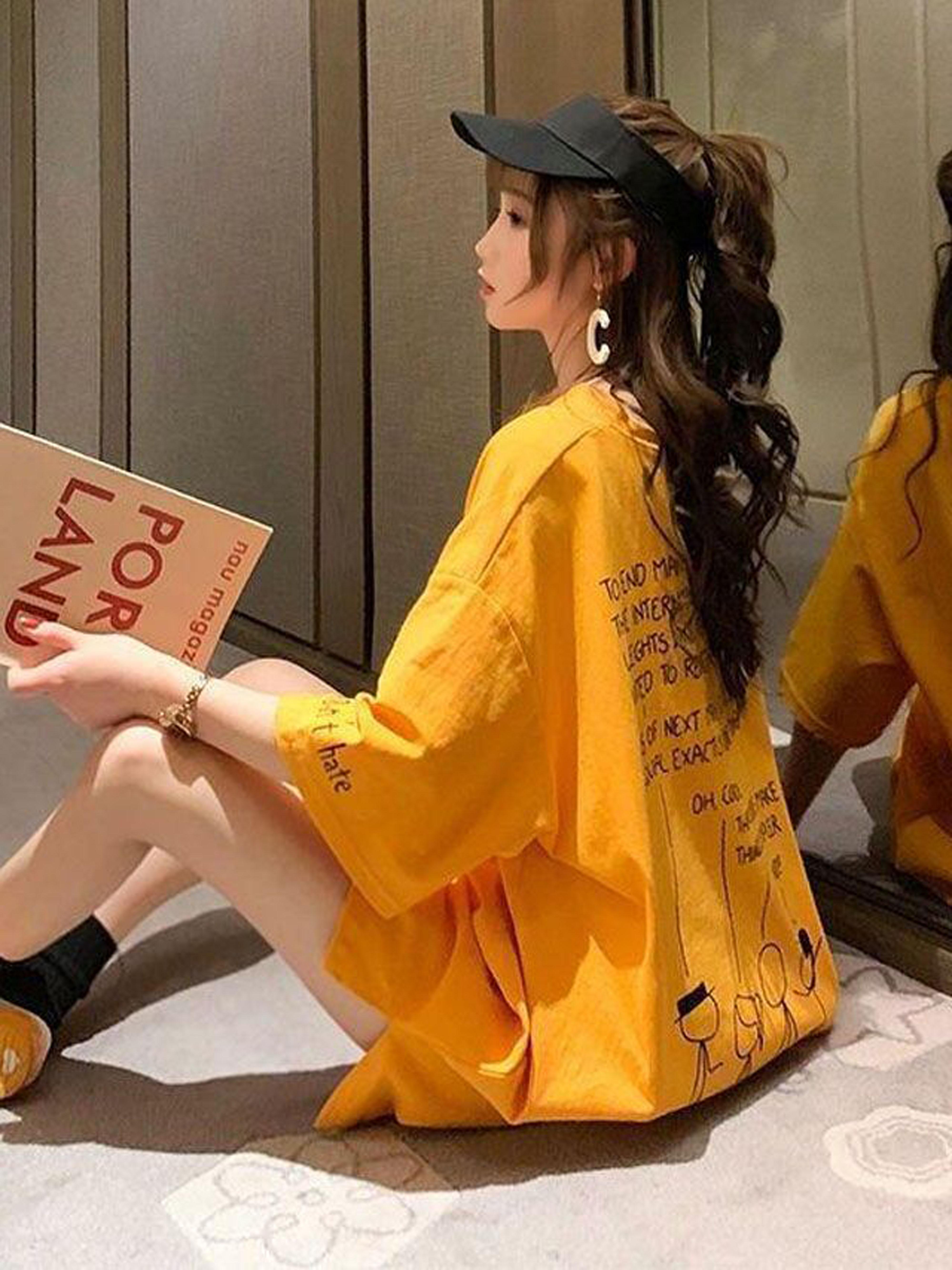 泫雅风t恤中长款短袖女韩版宽松上衣+腰带+短裤三件套时尚套装