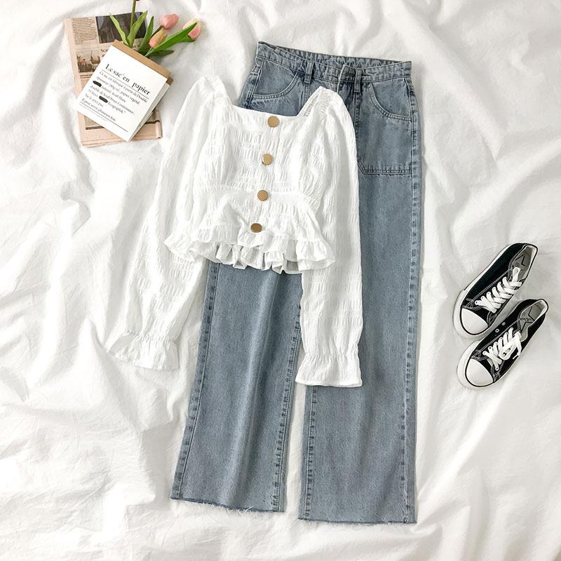 春季套装女韩版方领皱褶长袖衬衫+高腰宽松阔腿牛仔裤气质两件套