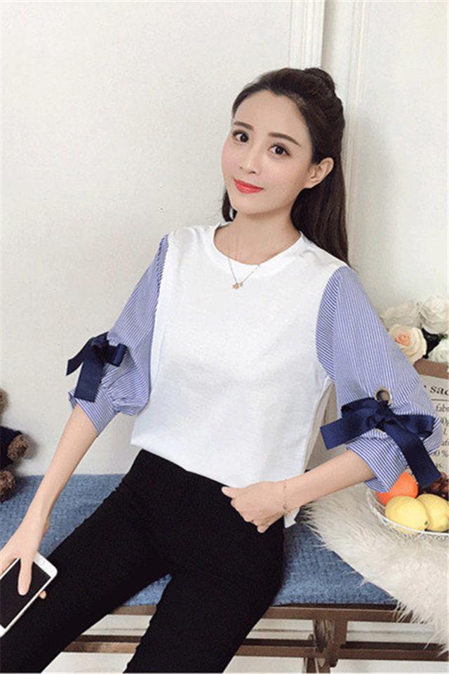 小个子春秋女套装新款假两件蝴蝶结T恤衬衫+打底裤时尚休闲套装
