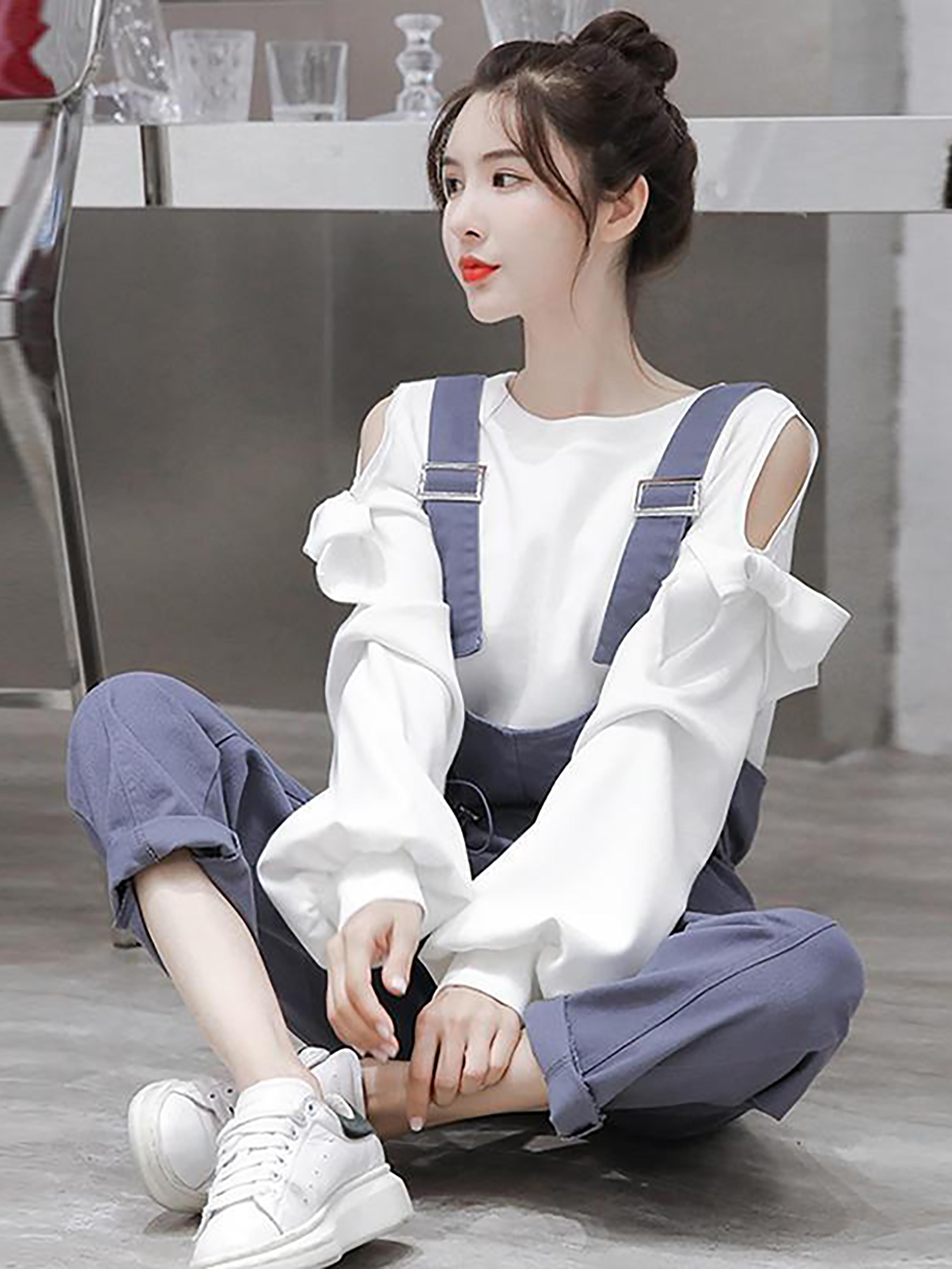 春夏季新款韩范显瘦背带裤+白色露肩蝴蝶结T恤两件套时尚套装女