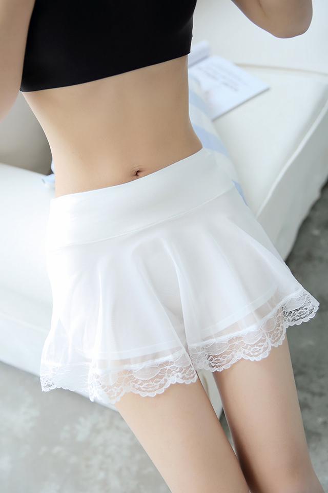夏季薄网纱安全裤防走光女三分短裤蕾丝边假两件打底裤裙外穿学生