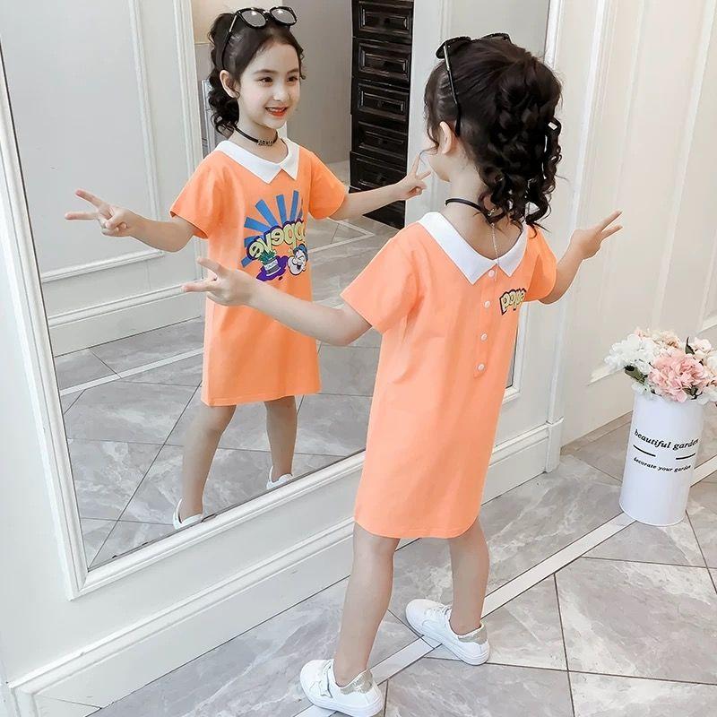 女童短袖t恤2020童装新品儿童半袖夏季中长款上衣小女孩裙子
