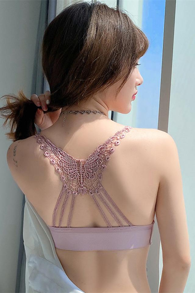 新款性感蕾丝美背前扣内衣女聚拢无痕收副乳文胸小胸调整胸罩少女