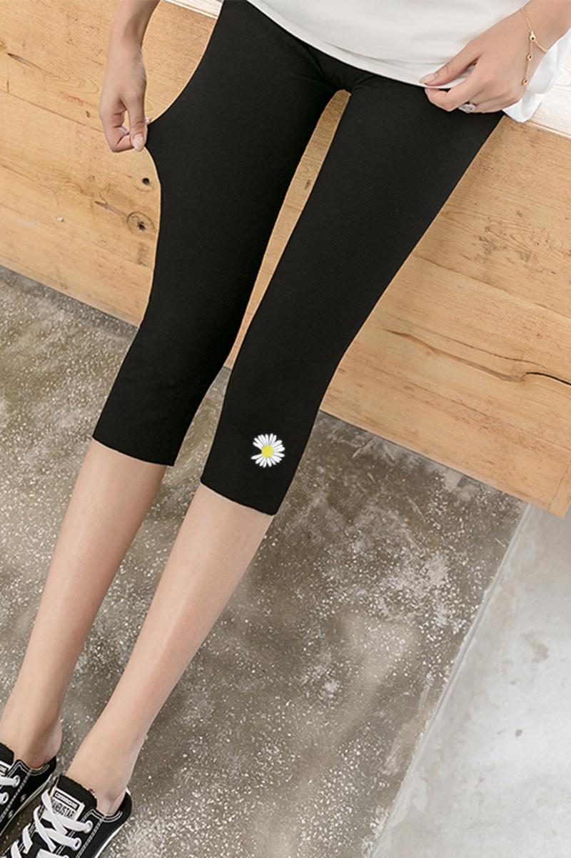 小雏菊春夏季七分裤打底裤女外穿薄款紧身7分小脚裤短裤学生显瘦
