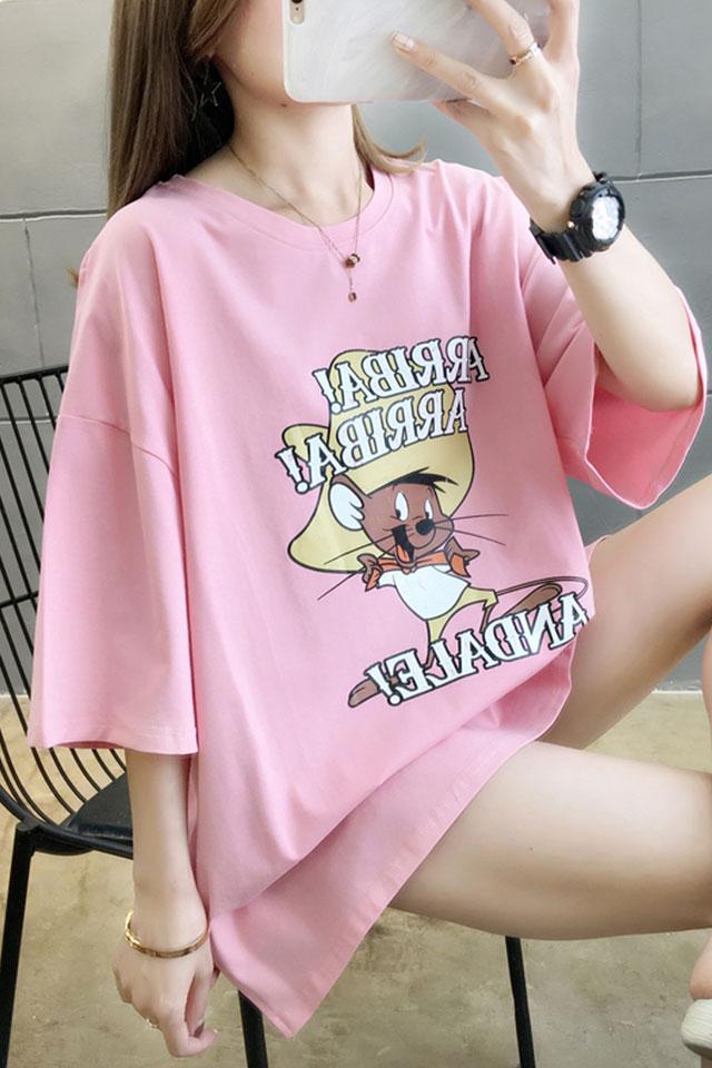 棉质短袖t恤女夏季韩版宽松中长款欧货大版怪味体桖ins上衣潮