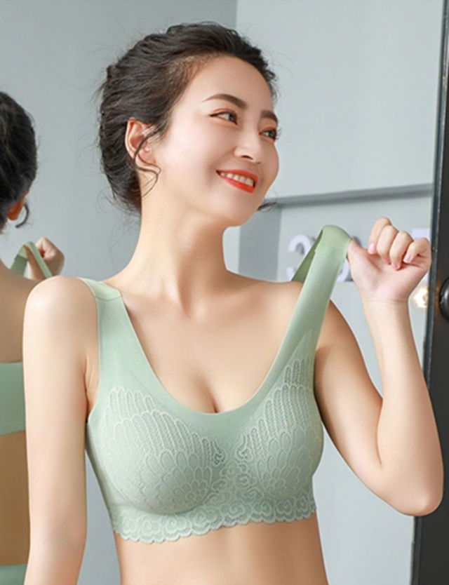 泰国乳胶内衣女无痕无钢圈蕾丝背心式聚拢收副乳薄款隐形运动文胸