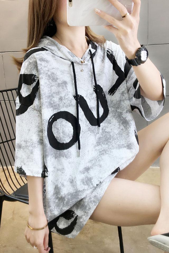 棉质夏装新款韩版大码女装胖mm短袖t恤女宽松遮肚上衣带帽体桖