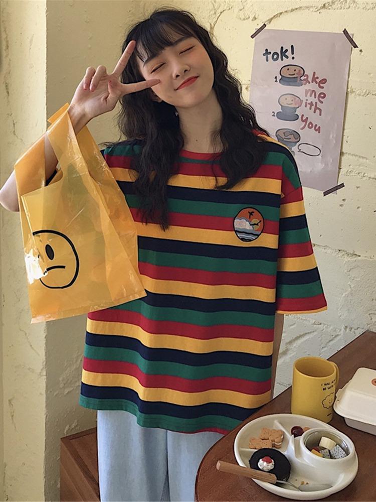 泫雅风彩虹条纹短袖t恤女2021宽松韩版ins潮原宿bf上衣