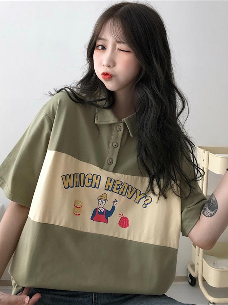 polo衫日系短袖t恤女2020新款夏宽松韩版学生慵懒风上衣