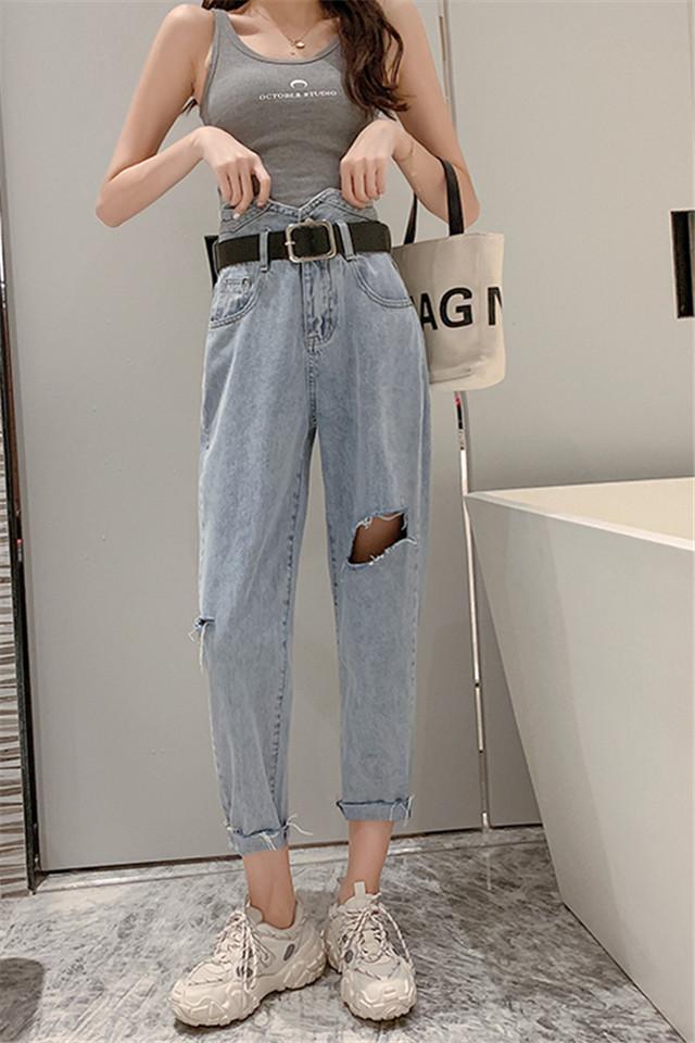 破洞薄款牛仔裤女2020夏装显瘦小脚萝卜裤高腰减龄九分裤