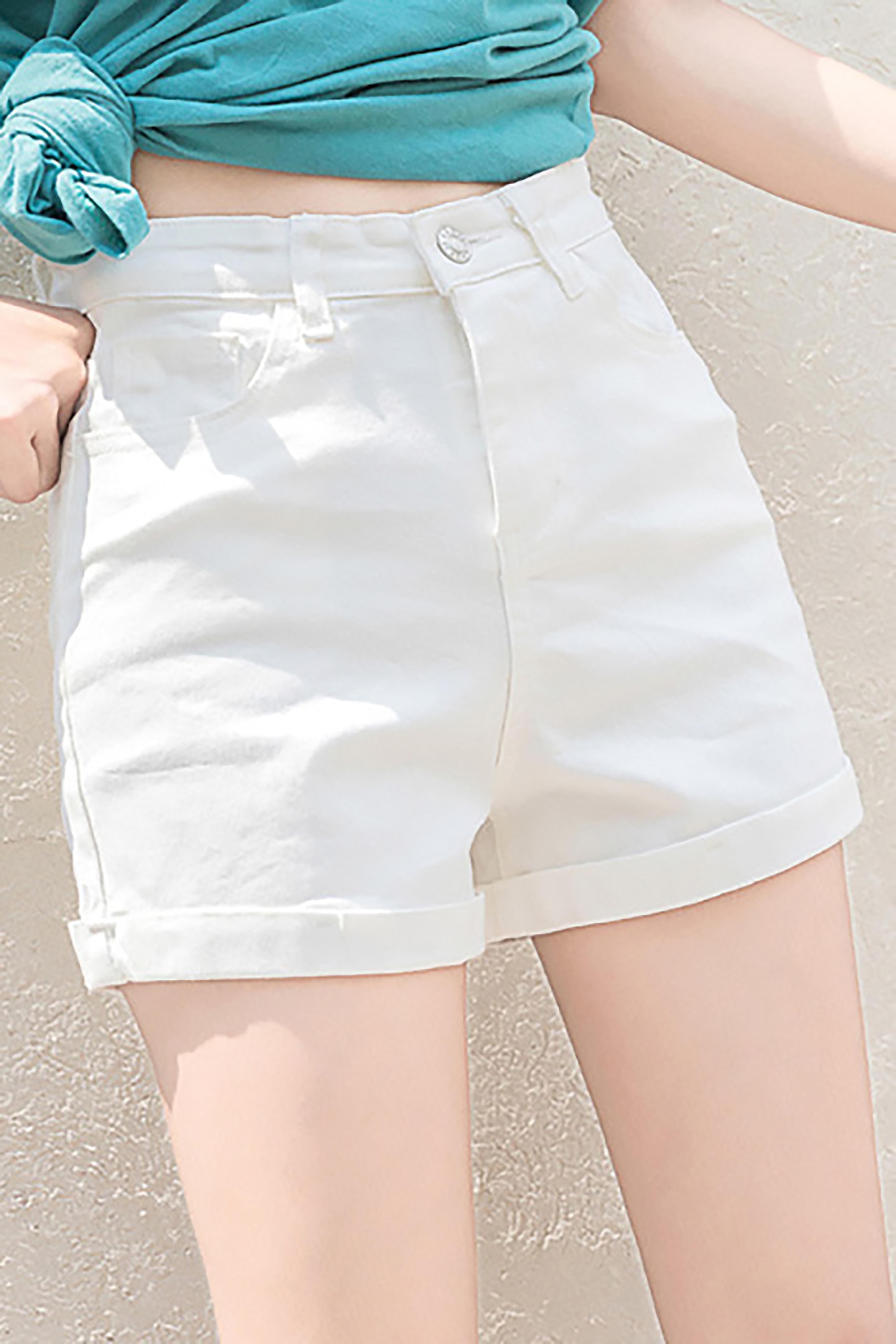 宽松显瘦卷边A字高腰牛仔短裤女2021夏季新款百搭大码热裤子
