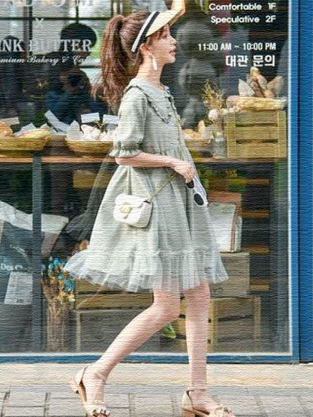 甜美娃娃领连衣裙女学生小个子仙女裙子超仙闺蜜装新款夏季