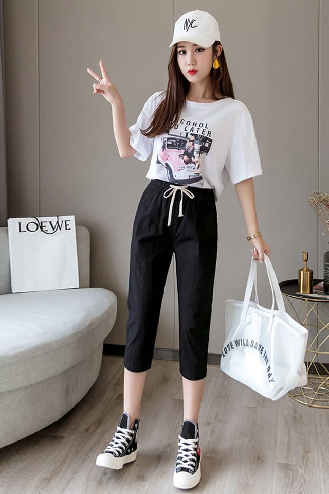 纯棉白色字母T恤+2021新款七分裤冰丝棉麻宽松休闲裤哈伦裤