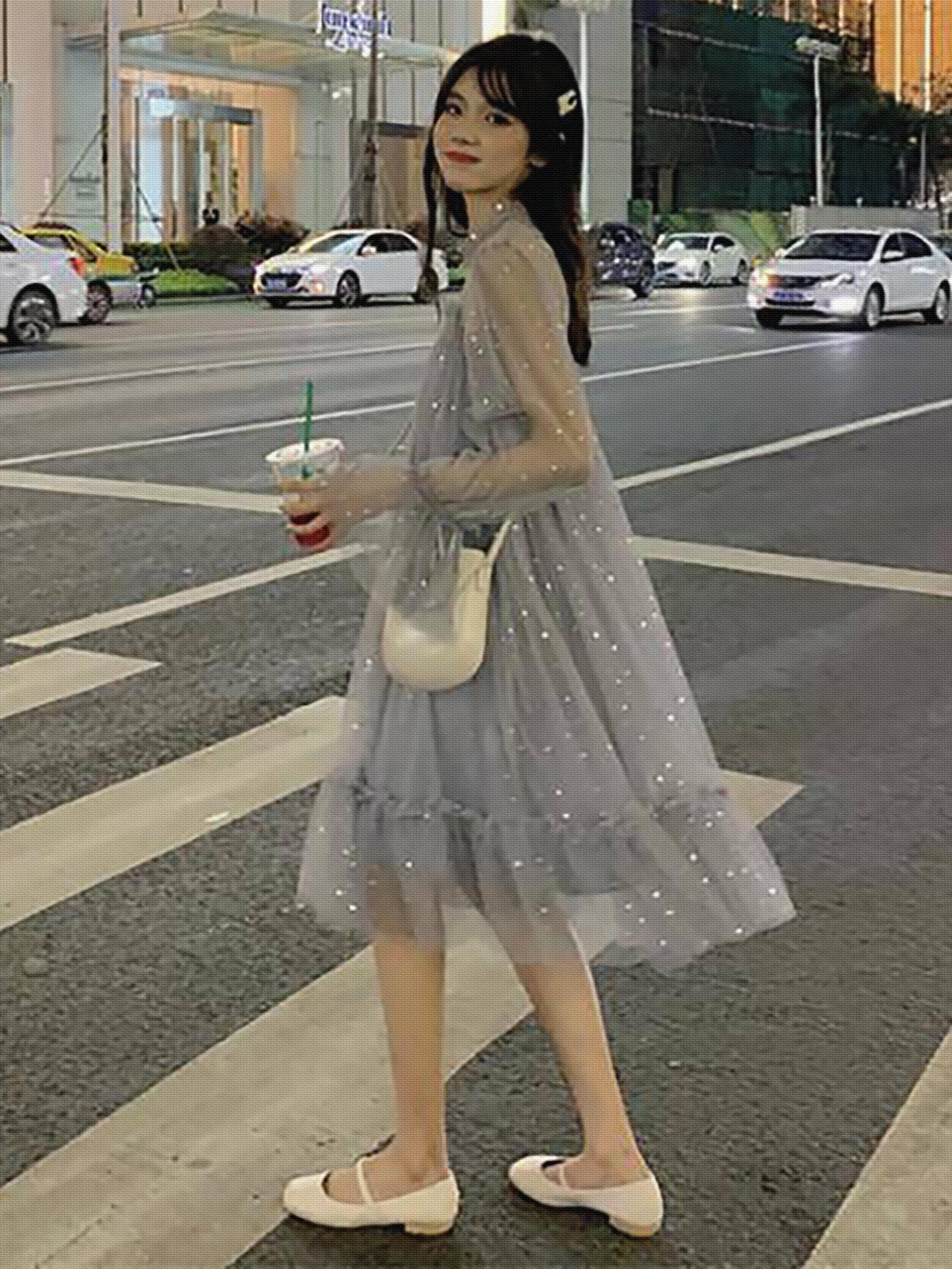 裙子女学生韩版宽松夏季小个子网纱系带连衣裙亮片超仙甜美仙女裙