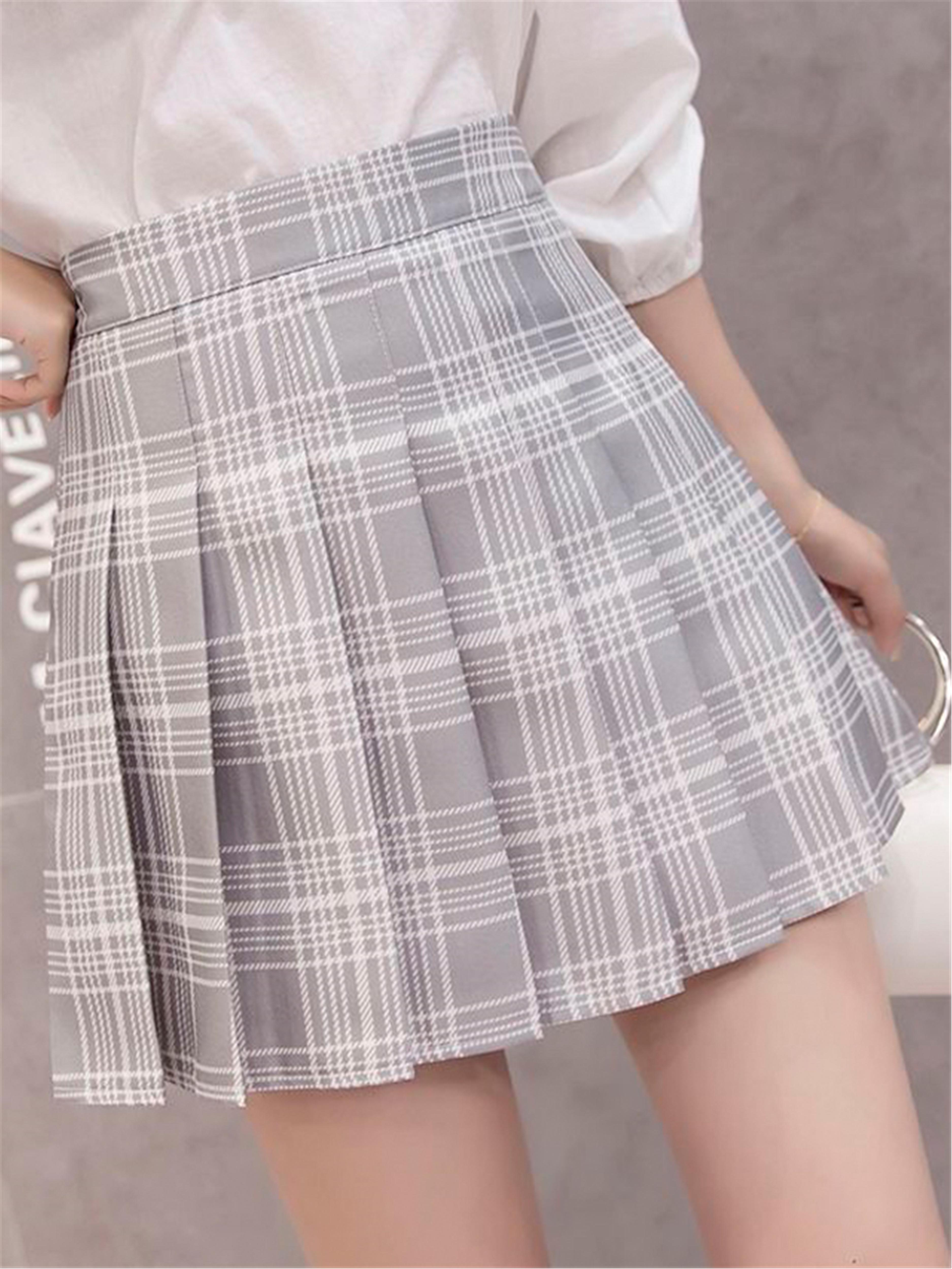 格子百褶裙女短裙四季新款裙子女学生韩版显瘦高腰a字裙半身裙女