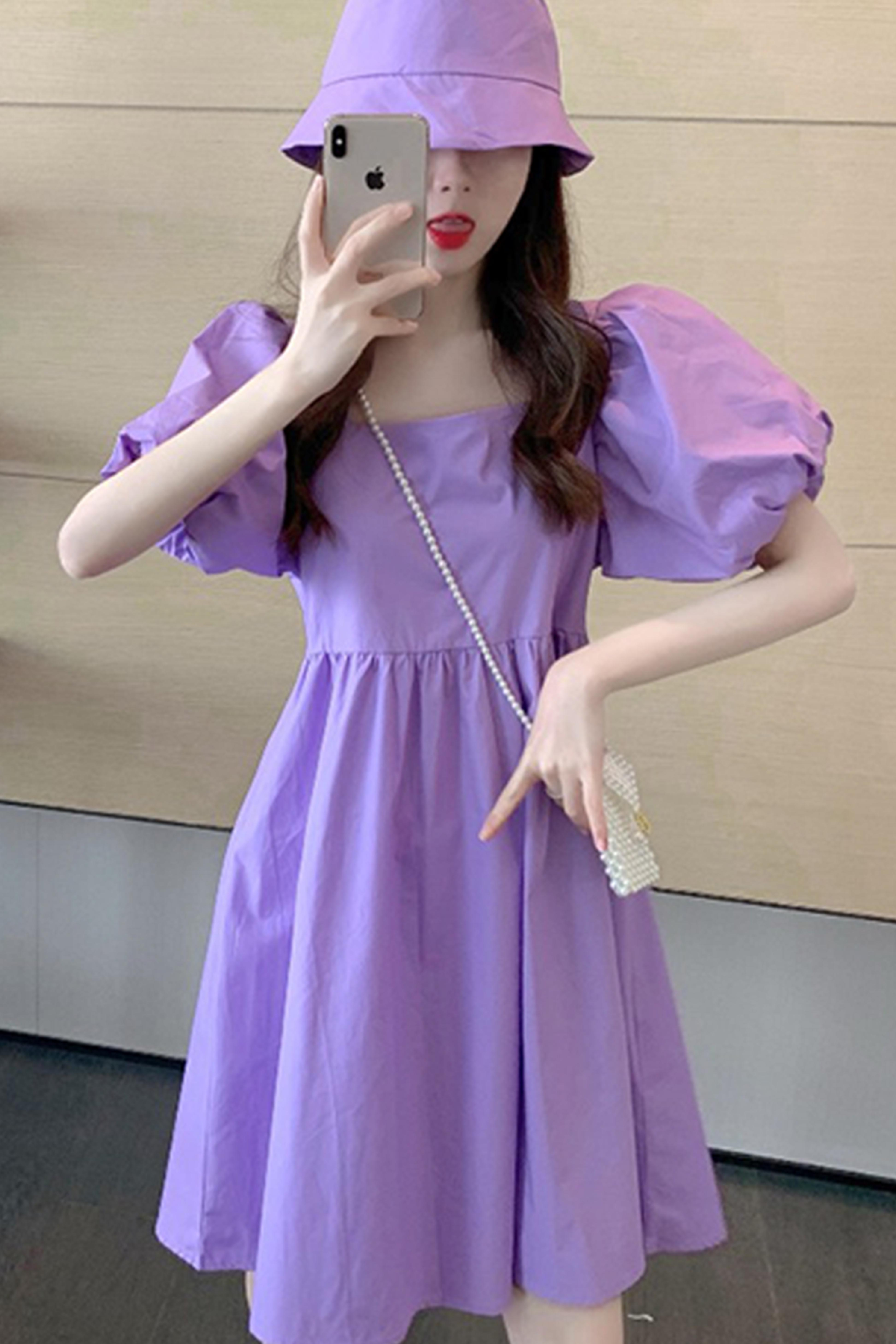 夏季2020新款韩版泡泡短袖连衣裙学生百搭洋气紫色高腰裙子女